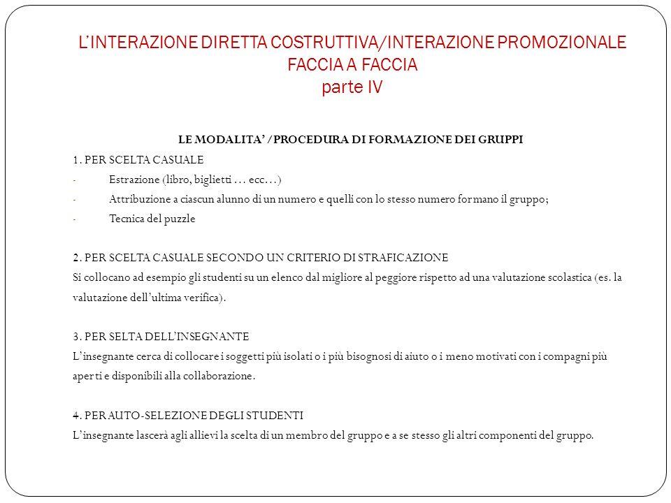 LINTERAZIONE DIRETTA COSTRUTTIVA/INTERAZIONE PROMOZIONALE FACCIA A FACCIA parte IV LE MODALITA /PROCEDURA DI FORMAZIONE DEI GRUPPI 1.