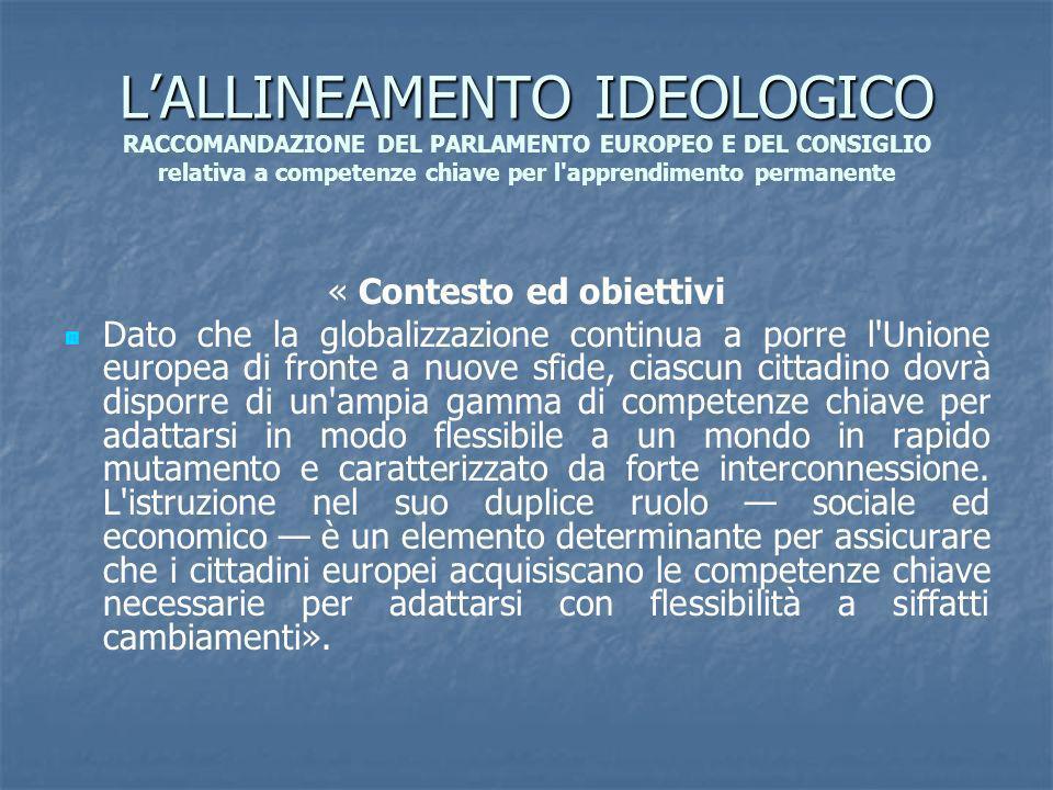 LALLINEAMENTO IDEOLOGICO LALLINEAMENTO IDEOLOGICO RACCOMANDAZIONE DEL PARLAMENTO EUROPEO E DEL CONSIGLIO relativa a competenze chiave per l'apprendime