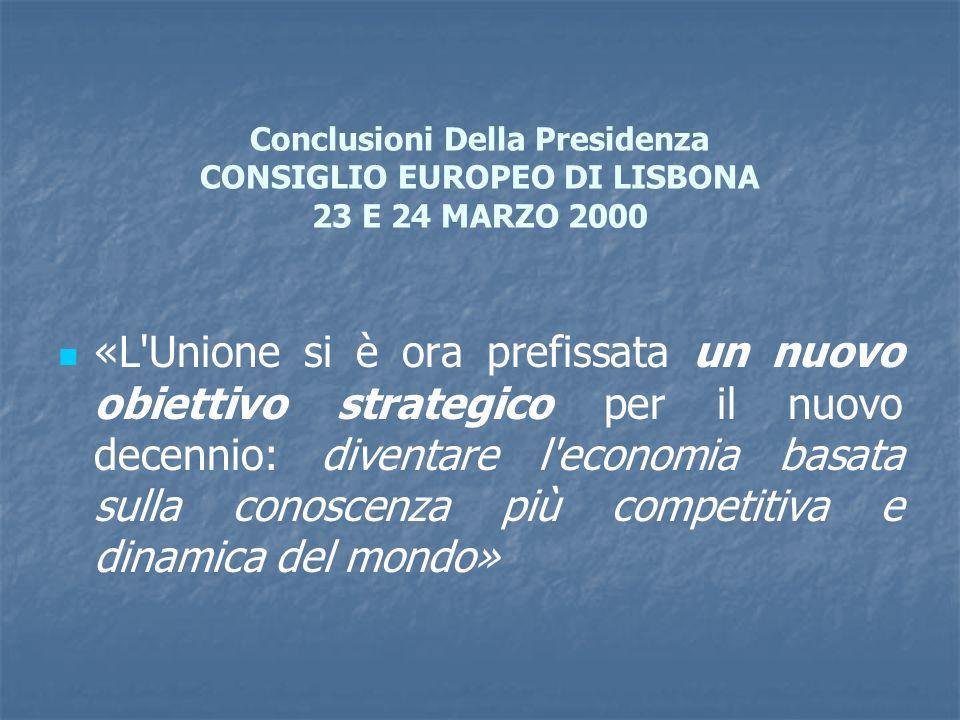 Conclusioni Della Presidenza CONSIGLIO EUROPEO DI LISBONA 23 E 24 MARZO 2000 «L Unione si è ora prefissata un nuovo obiettivo strategico per il nuovo decennio: diventare l economia basata sulla conoscenza più competitiva e dinamica del mondo»