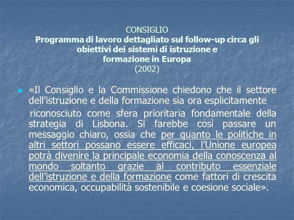 CONSIGLIO Programma di lavoro dettagliato sul follow-up circa gli obiettivi dei sistemi di istruzione e formazione in Europa (2002) «Il Consiglio e la Commissione chiedono che il settore dellistruzione e della formazione sia ora esplicitamente riconosciuto come sfera prioritaria fondamentale della strategia di Lisbona.