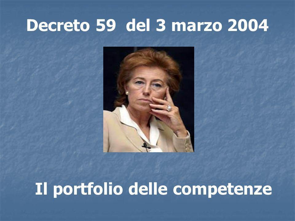 Decreto 59 del 3 marzo 2004 Il portfolio delle competenze