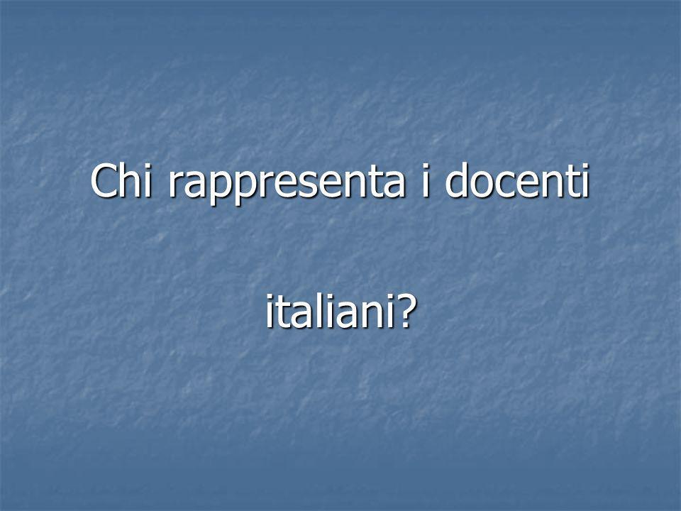 Chi rappresenta i docenti italiani?