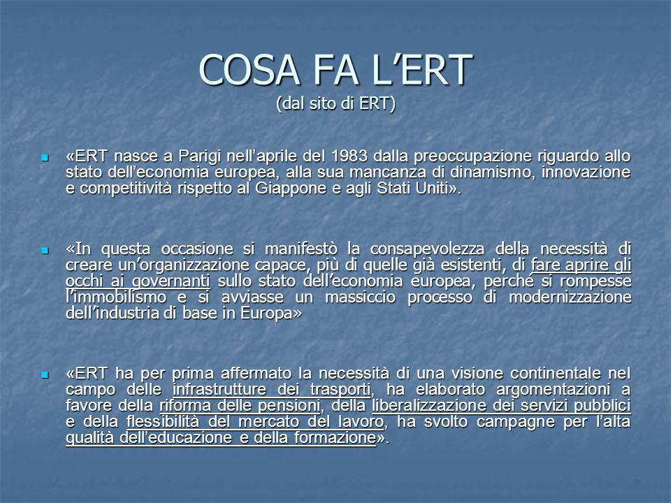 COSA FA LERT (dal sito di ERT) «ERT nasce a Parigi nellaprile del 1983 dalla preoccupazione riguardo allo stato delleconomia europea, alla sua mancanza di dinamismo, innovazione e competitività rispetto al Giappone e agli Stati Uniti».