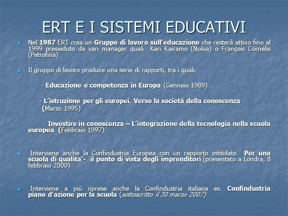 ERT E I SISTEMI EDUCATIVI Nel 1987 ERT crea un Gruppo di lavoro sulleducazione che resterà attivo fino al 1999 presieduto da vari manager quali Kari K