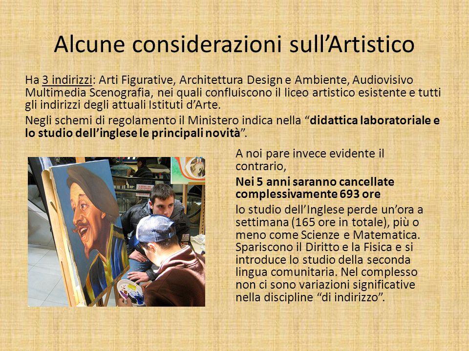 Alcune considerazioni sullArtistico Ha 3 indirizzi: Arti Figurative, Architettura Design e Ambiente, Audiovisivo Multimedia Scenografia, nei quali con