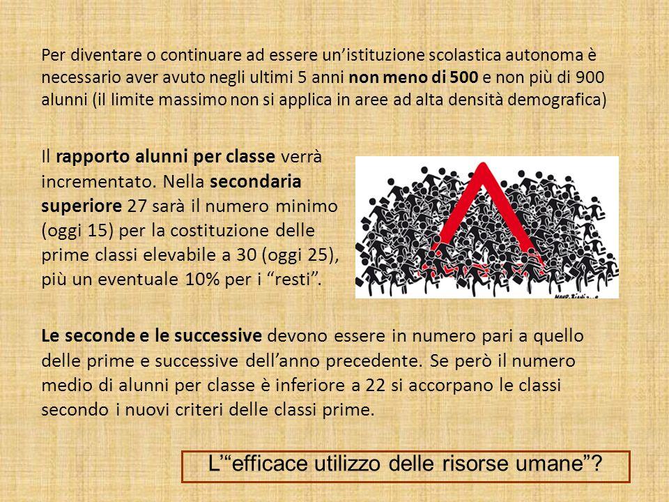 Per diventare o continuare ad essere unistituzione scolastica autonoma è necessario aver avuto negli ultimi 5 anni non meno di 500 e non più di 900 al