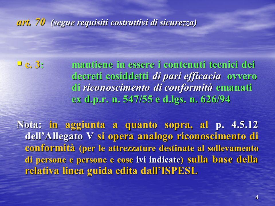 5 art.70 (segue requisiti costruttivi di sicurezza) c.