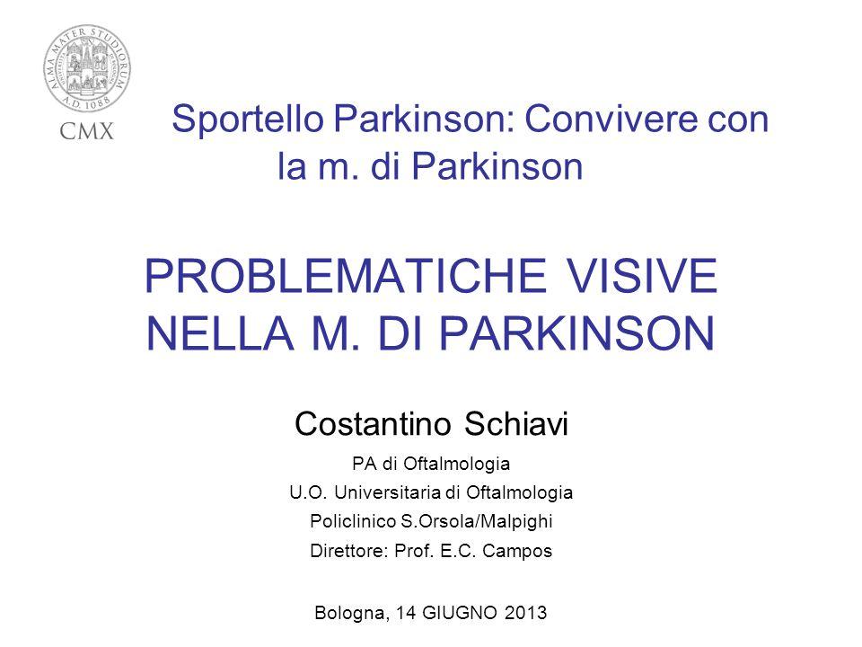 Sportello Parkinson: Convivere con la m. di Parkinson PROBLEMATICHE VISIVE NELLA M. DI PARKINSON Costantino Schiavi PA di Oftalmologia U.O. Universita
