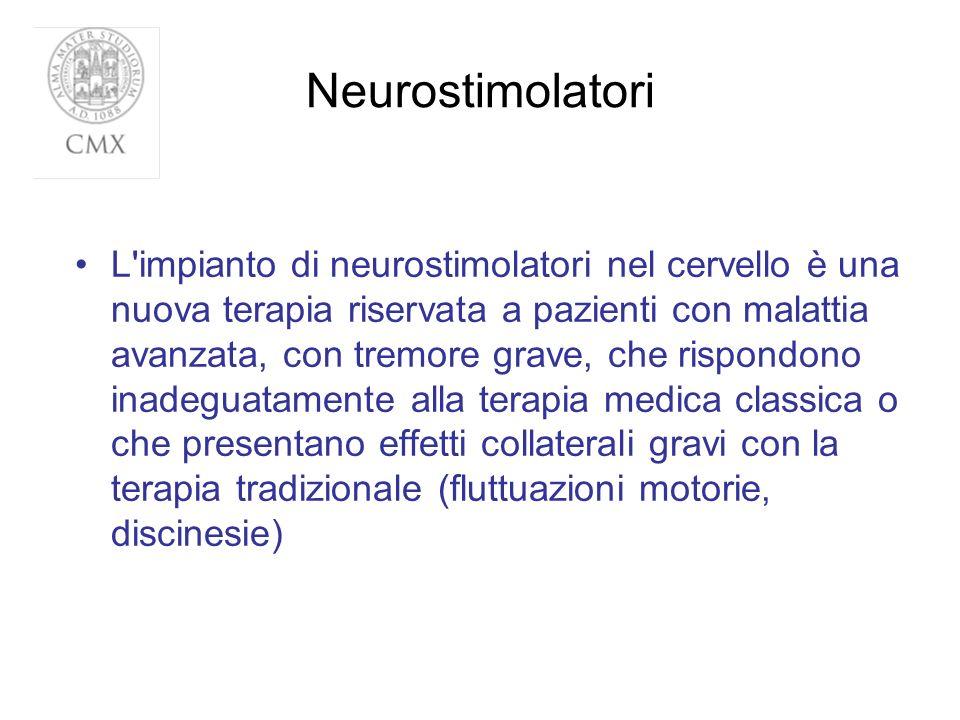 Neurostimolatori L'impianto di neurostimolatori nel cervello è una nuova terapia riservata a pazienti con malattia avanzata, con tremore grave, che ri