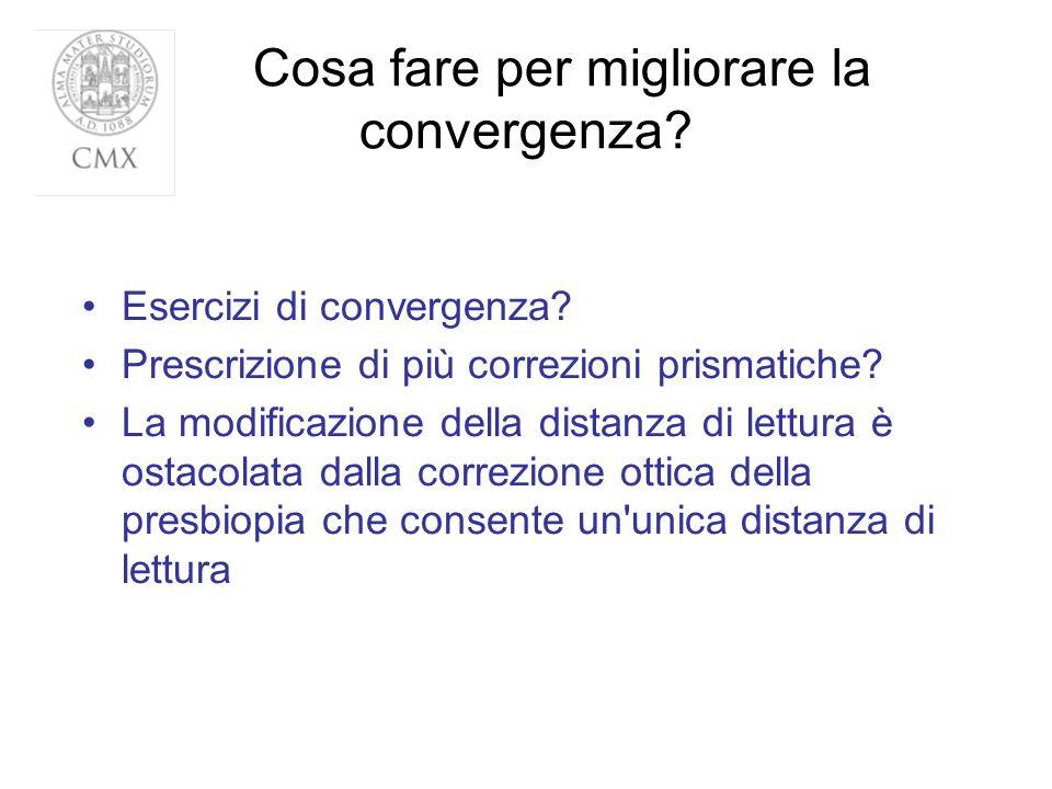 Cosa fare per migliorare la convergenza? Esercizi di convergenza? Prescrizione di più correzioni prismatiche? La modificazione della distanza di lettu