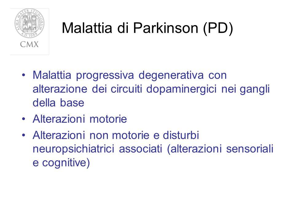 Malattia di Parkinson (PD) Malattia progressiva degenerativa con alterazione dei circuiti dopaminergici nei gangli della base Alterazioni motorie Alte