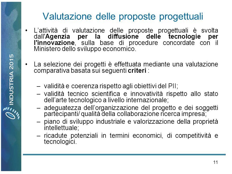 11 Valutazione delle proposte progettuali Lattività di valutazione delle proposte progettuali è svolta dall'Agenzia per la diffusione delle tecnologie