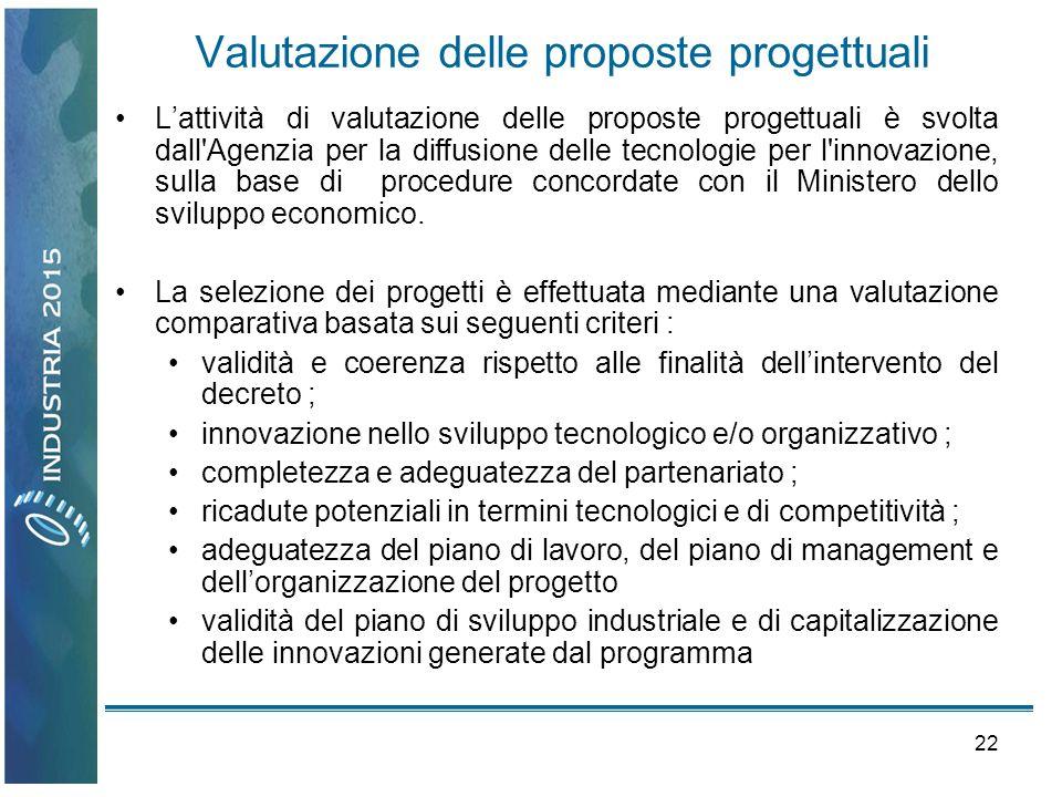 22 Valutazione delle proposte progettuali Lattività di valutazione delle proposte progettuali è svolta dall'Agenzia per la diffusione delle tecnologie
