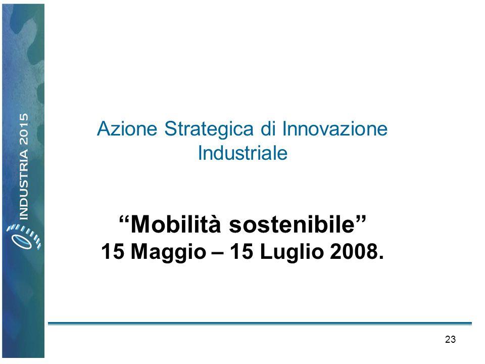 23 Azione Strategica di Innovazione Industriale Mobilità sostenibile 15 Maggio – 15 Luglio 2008.