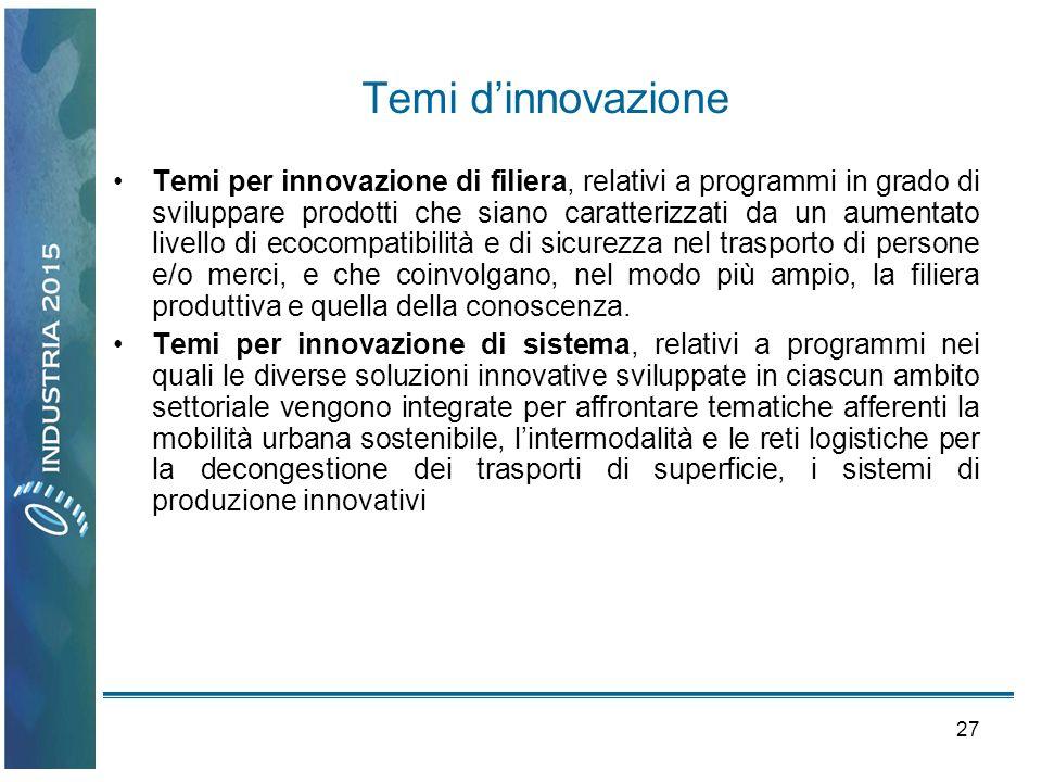 27 Temi dinnovazione Temi per innovazione di filiera, relativi a programmi in grado di sviluppare prodotti che siano caratterizzati da un aumentato li