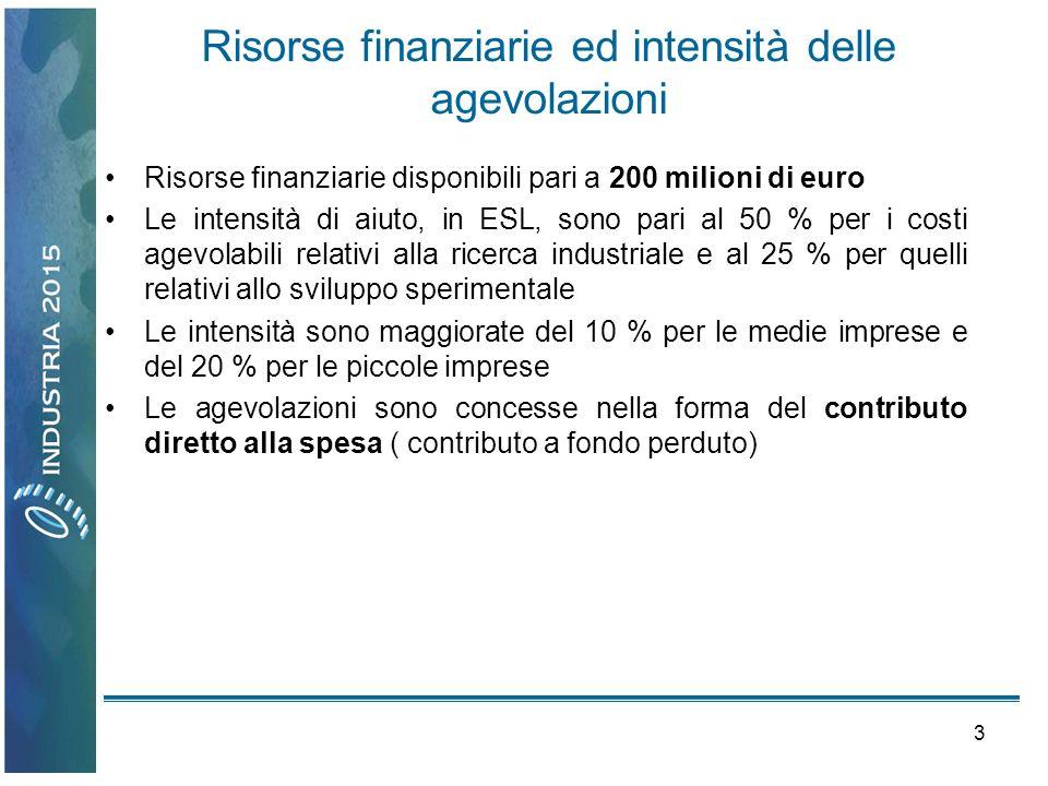 3 Risorse finanziarie ed intensità delle agevolazioni Risorse finanziarie disponibili pari a 200 milioni di euro Le intensità di aiuto, in ESL, sono p