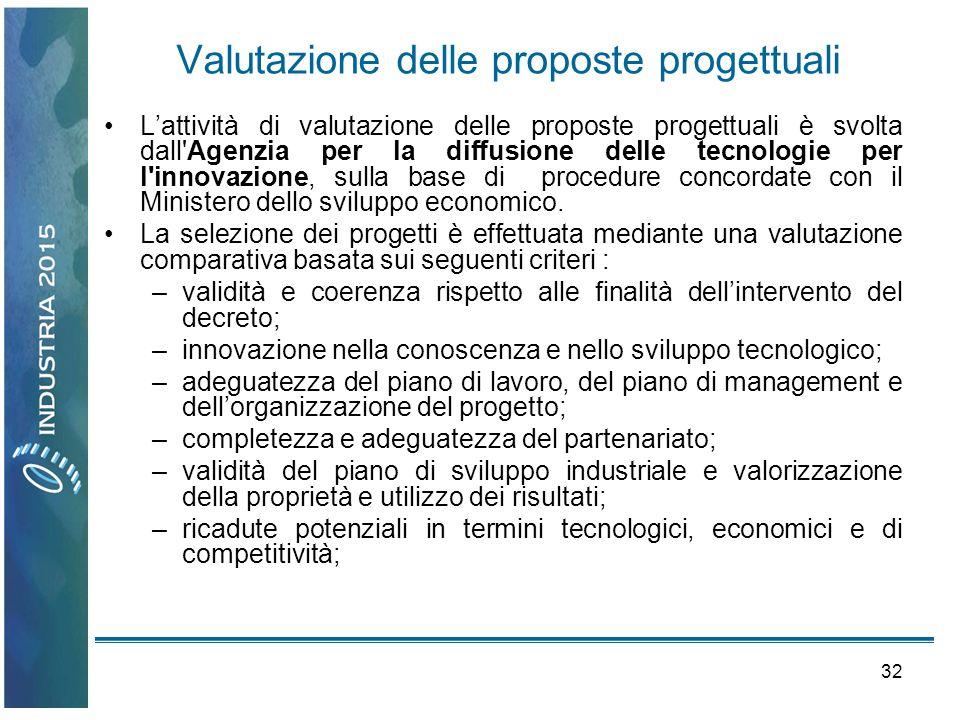 32 Valutazione delle proposte progettuali Lattività di valutazione delle proposte progettuali è svolta dall'Agenzia per la diffusione delle tecnologie