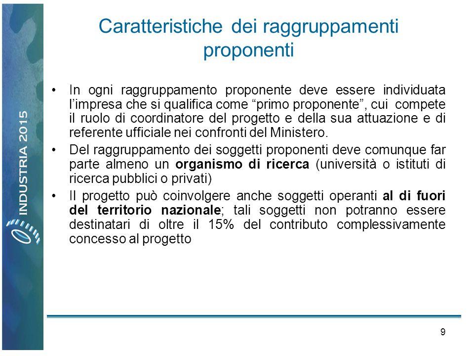 9 Caratteristiche dei raggruppamenti proponenti In ogni raggruppamento proponente deve essere individuata limpresa che si qualifica come primo propone