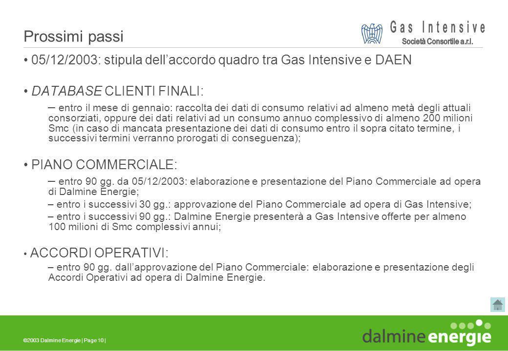 ©2003 Dalmine Energie | Page 10 | Prossimi passi 05/12/2003: stipula dellaccordo quadro tra Gas Intensive e DAEN DATABASE CLIENTI FINALI: – entro il m
