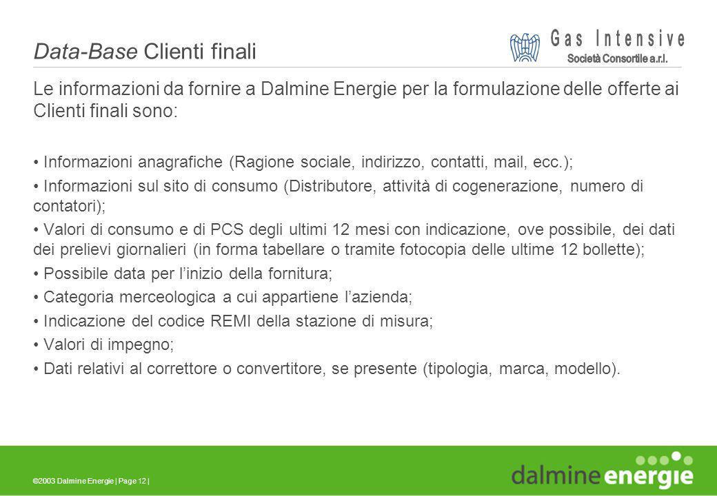 ©2003 Dalmine Energie | Page 12 | Data-Base Clienti finali Le informazioni da fornire a Dalmine Energie per la formulazione delle offerte ai Clienti f