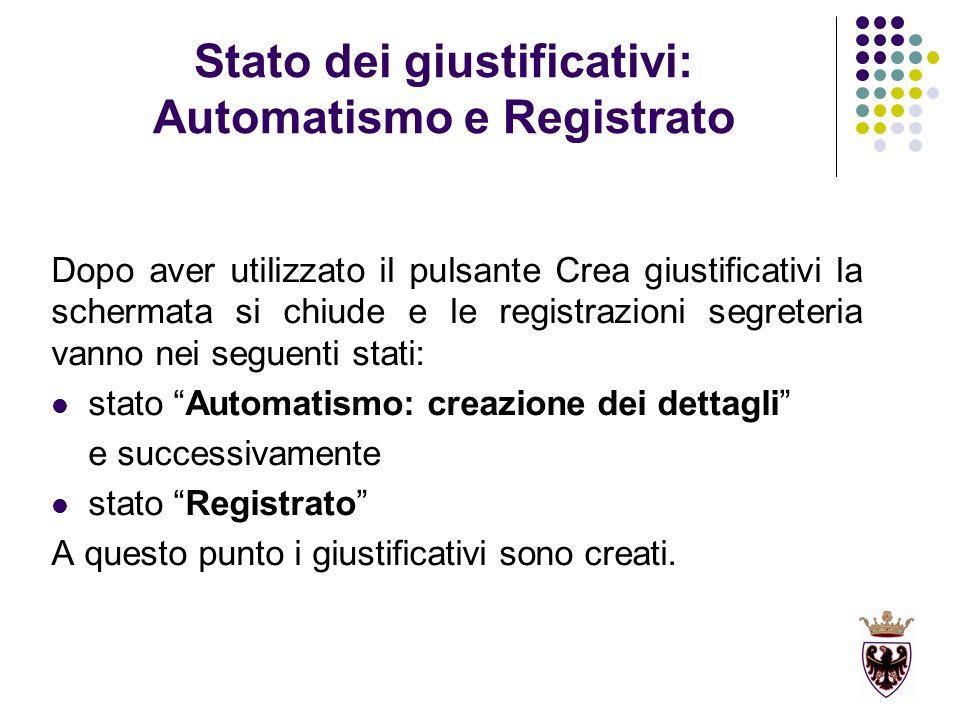 Stato dei giustificativi: Automatismo e Registrato Dopo aver utilizzato il pulsante Crea giustificativi la schermata si chiude e le registrazioni segr