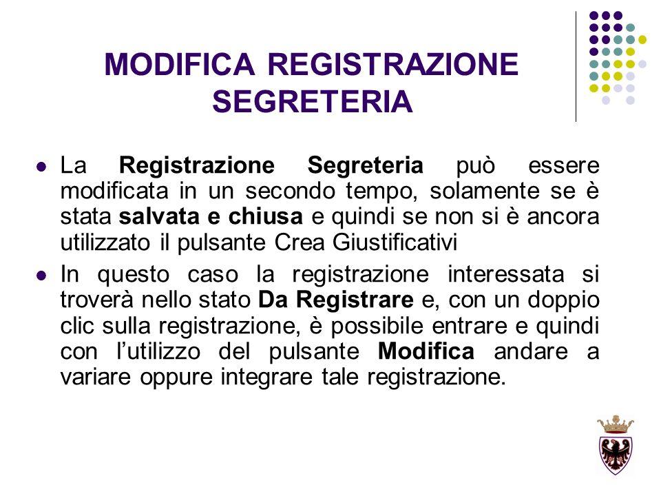 MODIFICA REGISTRAZIONE SEGRETERIA La Registrazione Segreteria può essere modificata in un secondo tempo, solamente se è stata salvata e chiusa e quind
