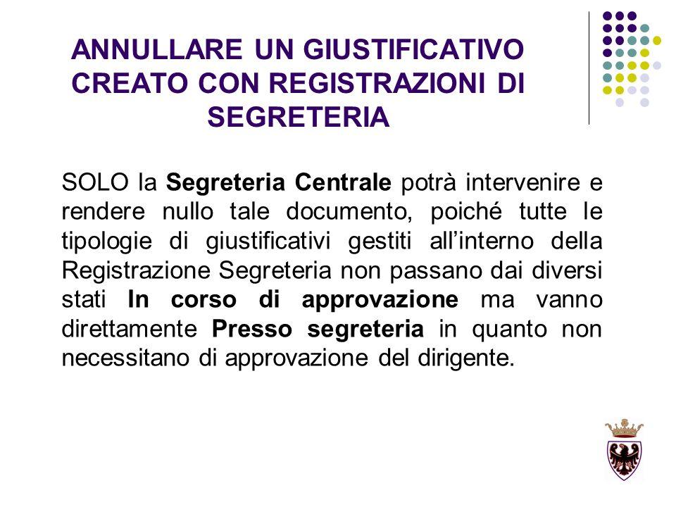 ANNULLARE UN GIUSTIFICATIVO CREATO CON REGISTRAZIONI DI SEGRETERIA SOLO la Segreteria Centrale potrà intervenire e rendere nullo tale documento, poich