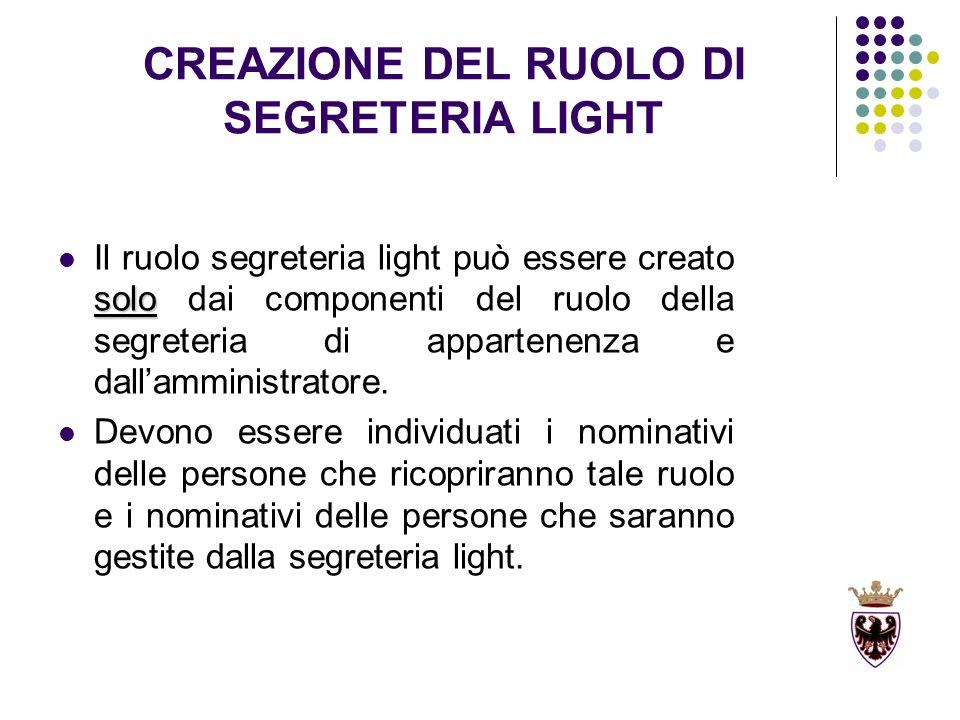 CREAZIONE DEL RUOLO DI SEGRETERIA LIGHT solo Il ruolo segreteria light può essere creato solo dai componenti del ruolo della segreteria di appartenenza e dallamministratore.