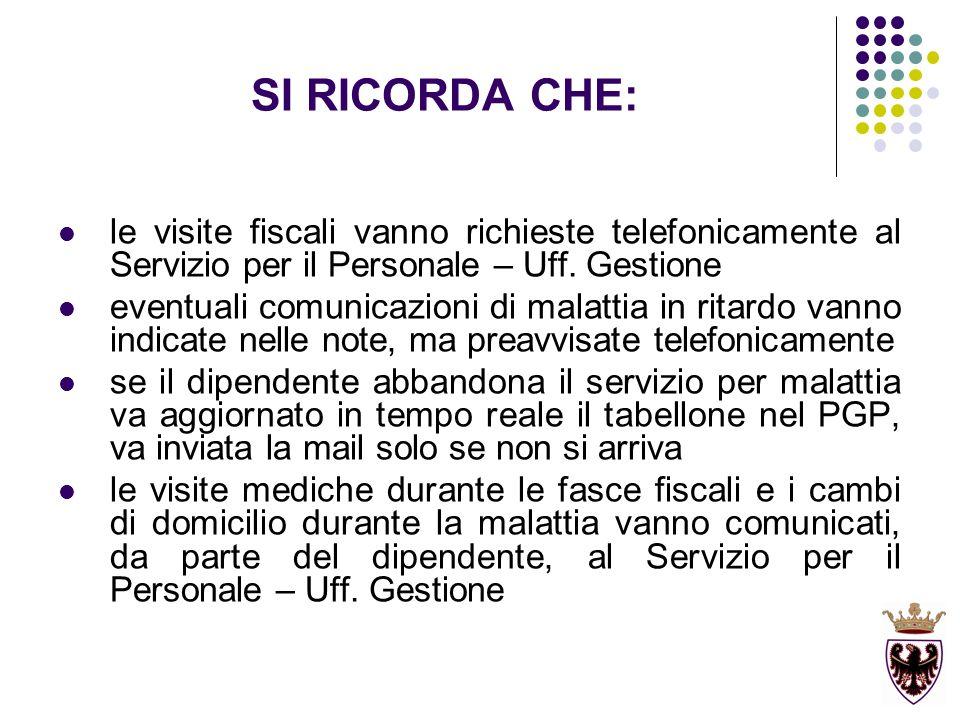 SI RICORDA CHE: le visite fiscali vanno richieste telefonicamente al Servizio per il Personale – Uff. Gestione eventuali comunicazioni di malattia in
