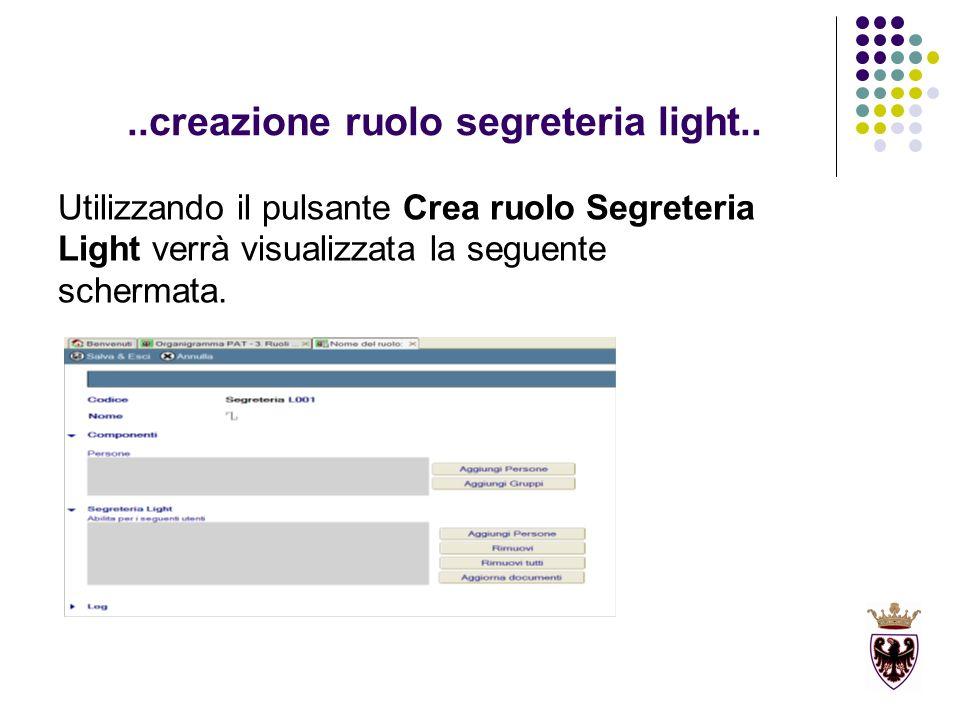 ..creazione ruolo segreteria light..