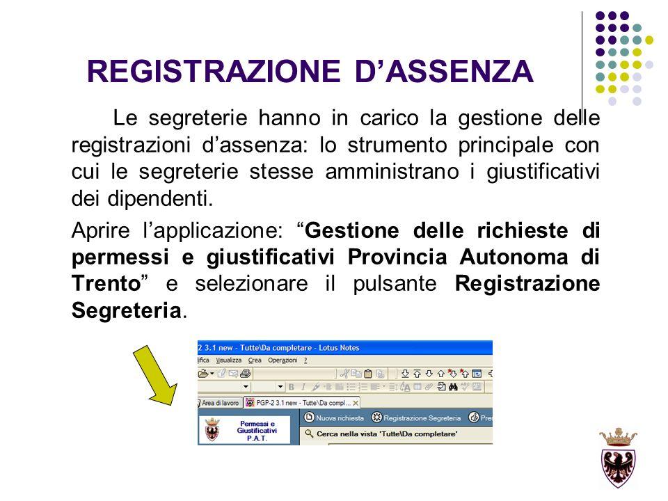 REGISTRAZIONE DASSENZA Le segreterie hanno in carico la gestione delle registrazioni dassenza: lo strumento principale con cui le segreterie stesse amministrano i giustificativi dei dipendenti.