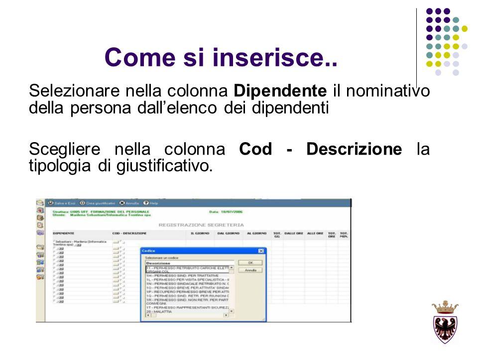 Come si inserisce.. Selezionare nella colonna Dipendente il nominativo della persona dallelenco dei dipendenti Scegliere nella colonna Cod - Descrizio