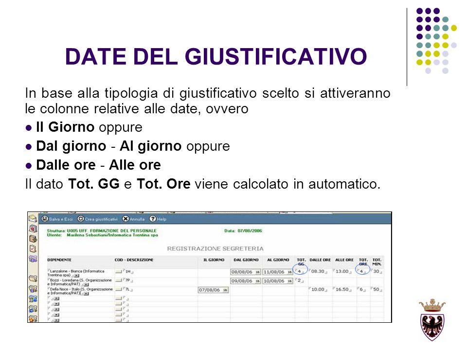 DATE DEL GIUSTIFICATIVO In base alla tipologia di giustificativo scelto si attiveranno le colonne relative alle date, ovvero Il Giorno oppure Dal giorno - Al giorno oppure Dalle ore - Alle ore Il dato Tot.