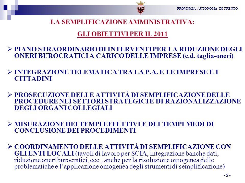 PROVINCIA AUTONOMA DI TRENTO - 5 - LA SEMPLIFICAZIONE AMMINISTRATIVA: GLI OBIETTIVI PER IL 2011 PIANO STRAORDINARIO DI INTERVENTI PER LA RIDUZIONE DEGLI ONERI BUROCRATICI A CARICO DELLE IMPRESE (c.d.