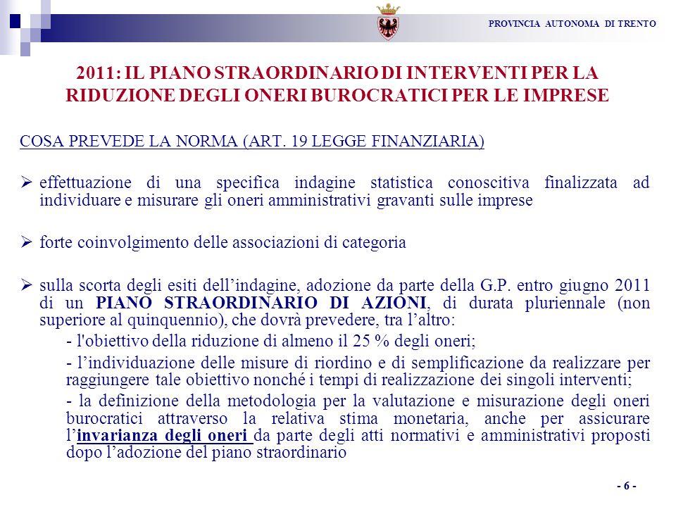 PROVINCIA AUTONOMA DI TRENTO - 6 - 2011: IL PIANO STRAORDINARIO DI INTERVENTI PER LA RIDUZIONE DEGLI ONERI BUROCRATICI PER LE IMPRESE COSA PREVEDE LA NORMA (ART.