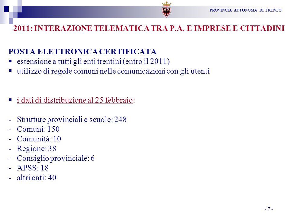 PROVINCIA AUTONOMA DI TRENTO - 7 - 2011: INTERAZIONE TELEMATICA TRA P.A.
