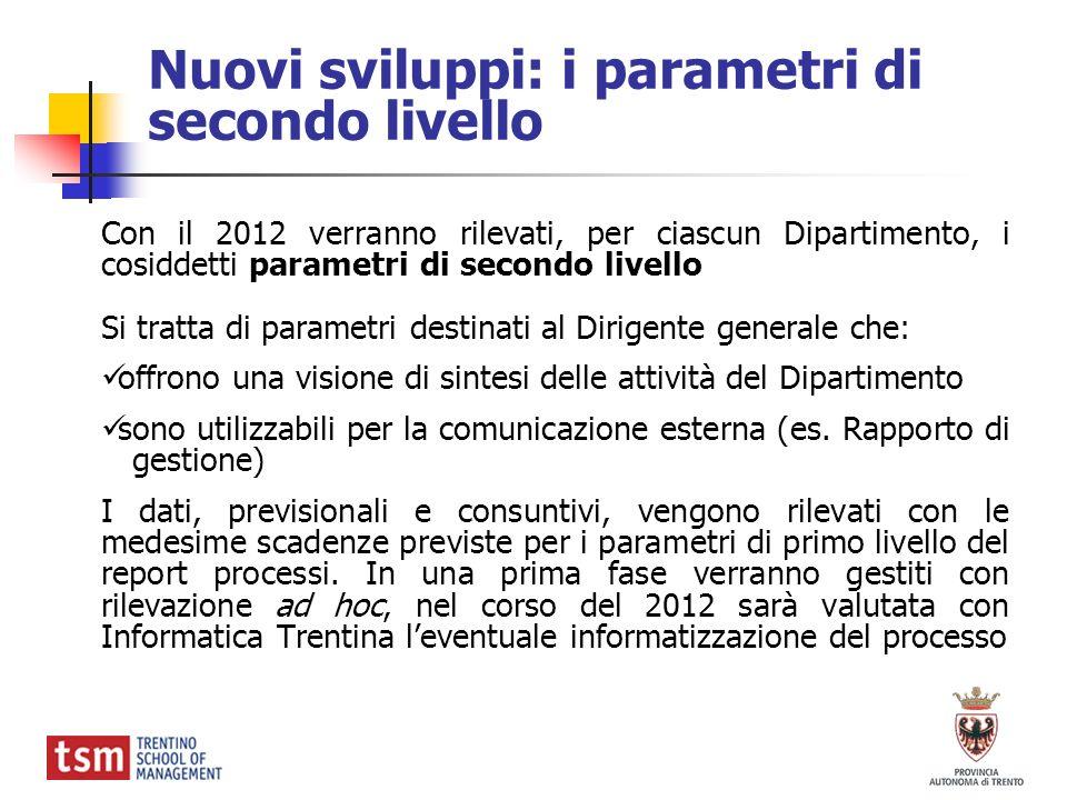 Nuovi sviluppi: i parametri di secondo livello Con il 2012 verranno rilevati, per ciascun Dipartimento, i cosiddetti parametri di secondo livello Si t