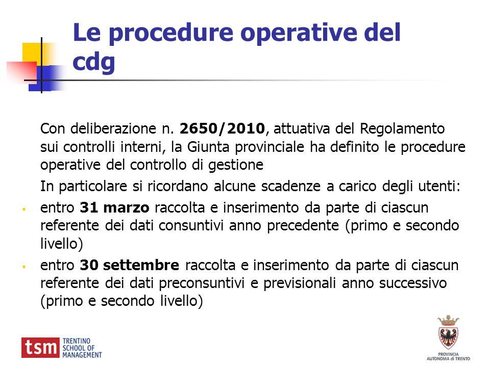 Le procedure operative del cdg Con deliberazione n. 2650/2010, attuativa del Regolamento sui controlli interni, la Giunta provinciale ha definito le p