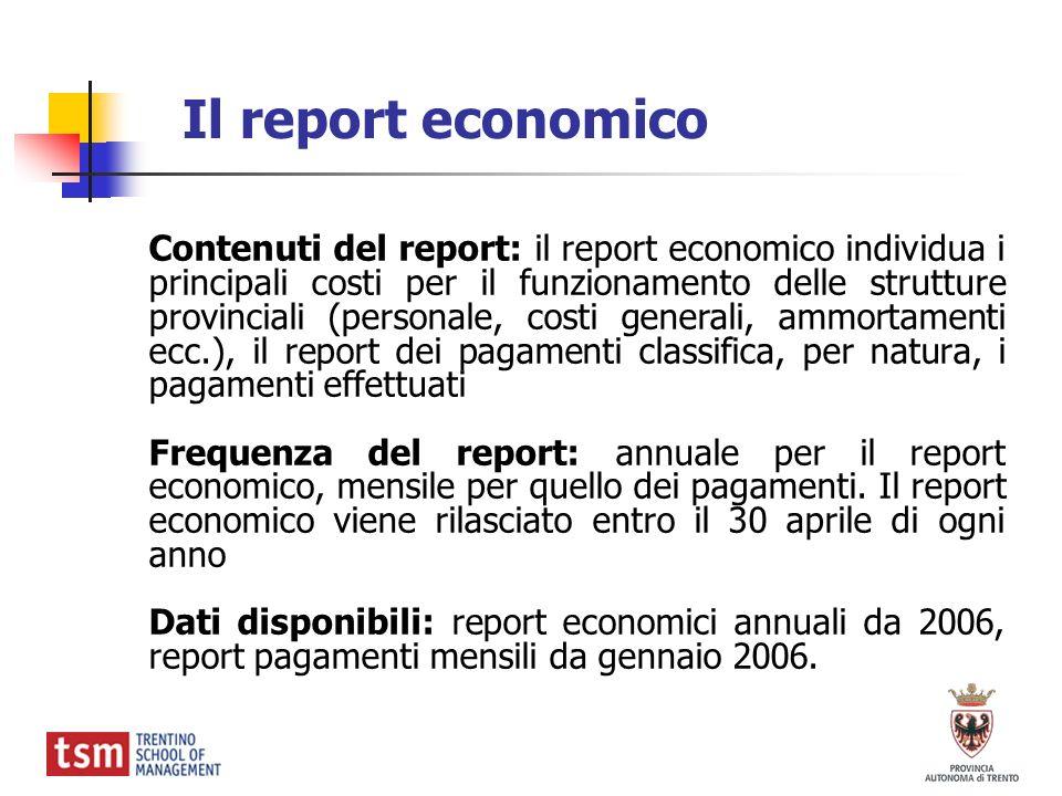 Il report economico Contenuti del report: il report economico individua i principali costi per il funzionamento delle strutture provinciali (personale