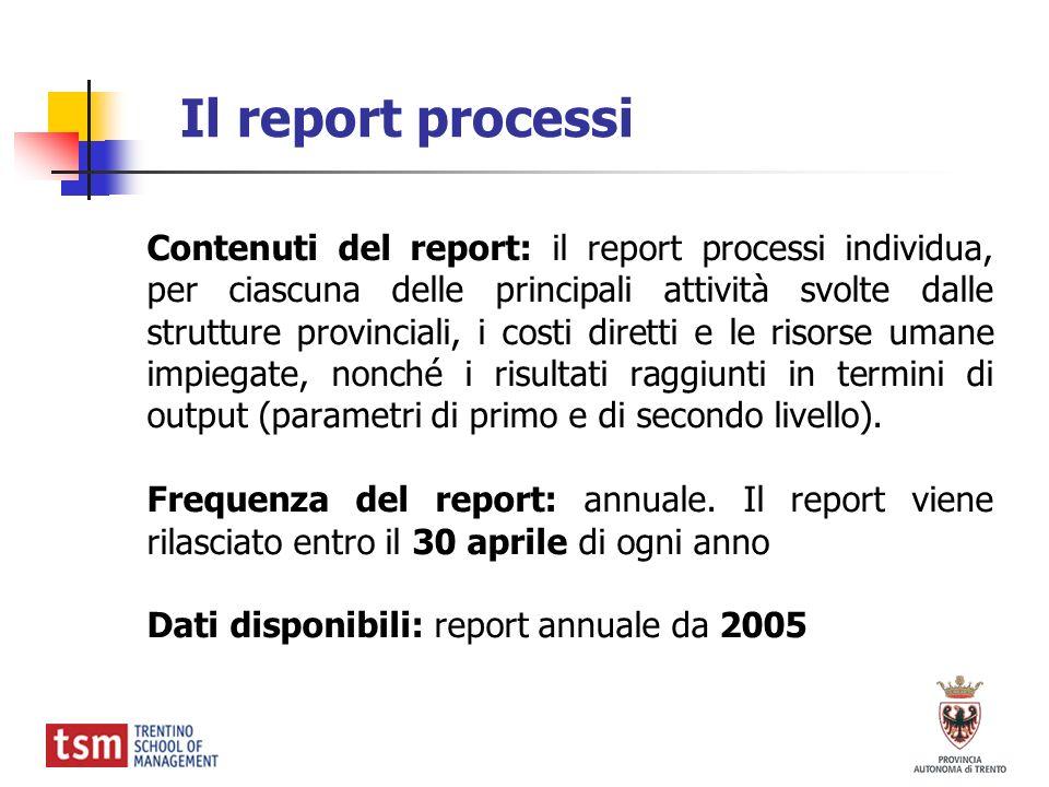 Il report processi Contenuti del report: il report processi individua, per ciascuna delle principali attività svolte dalle strutture provinciali, i co