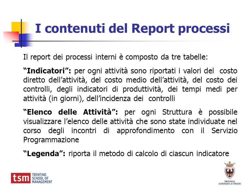 I contenuti del Report processi Il report dei processi interni è composto da tre tabelle: Indicatori: per ogni attività sono riportati i valori del co