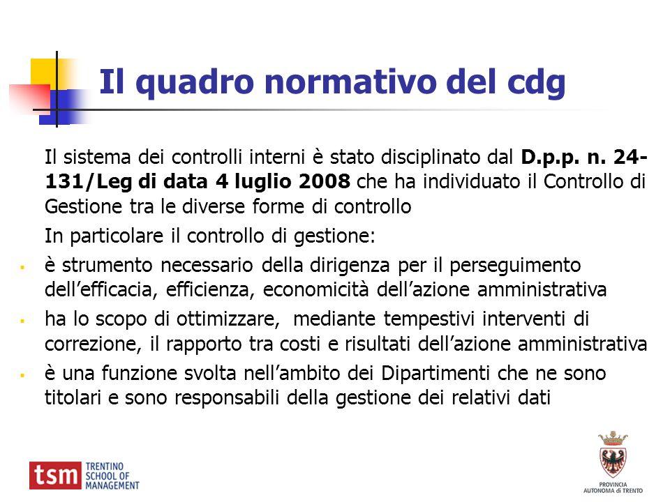 Il quadro normativo del cdg Il sistema dei controlli interni è stato disciplinato dal D.p.p. n. 24- 131/Leg di data 4 luglio 2008 che ha individuato i