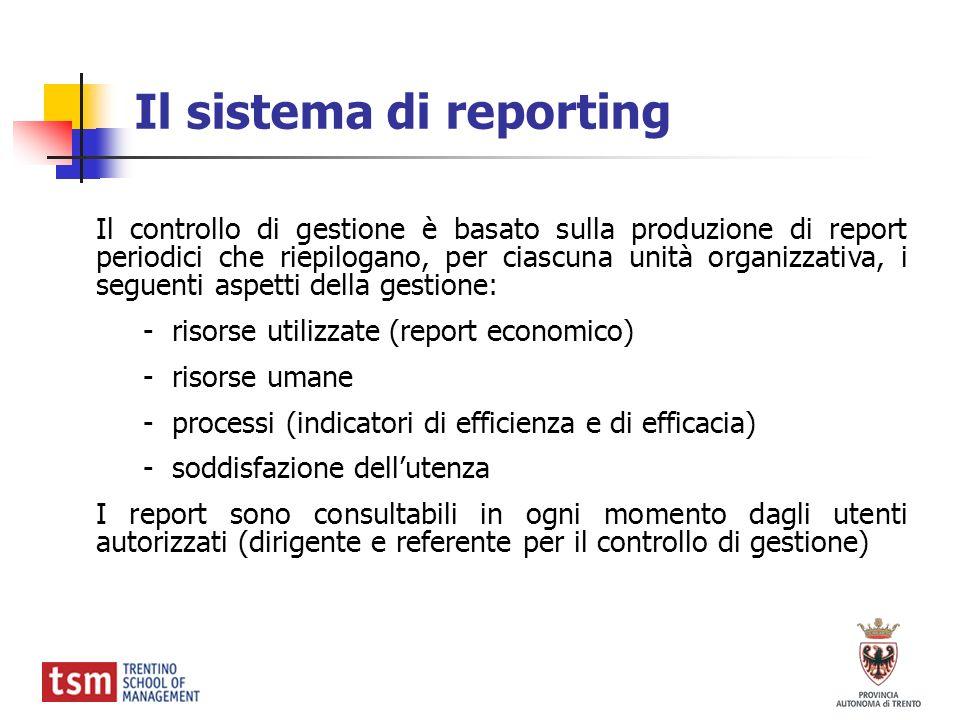 Il controllo di gestione è basato sulla produzione di report periodici che riepilogano, per ciascuna unità organizzativa, i seguenti aspetti della ges