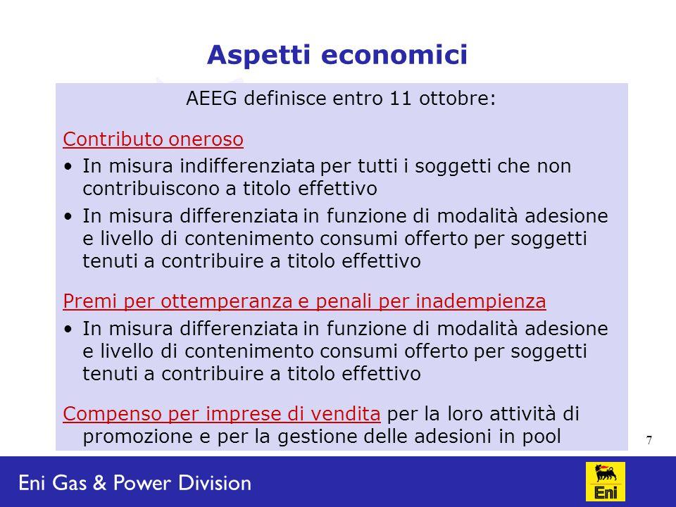 Eni Gas & Power Division 8 Dubbi interpretativi/criticità Costituzione pool Obbligo per imprese di vendita.