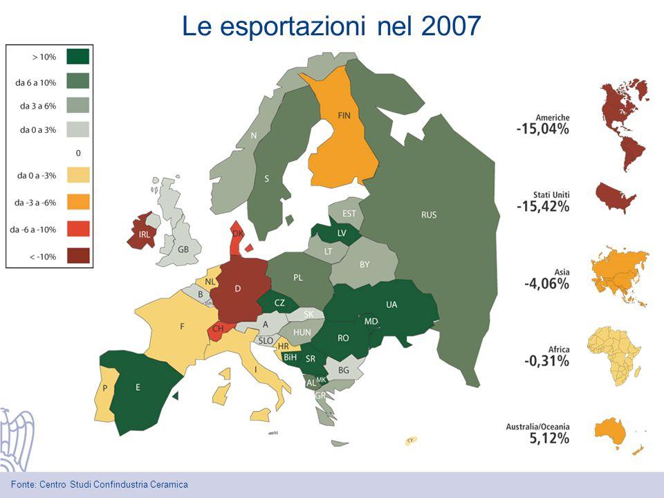 Le esportazioni nel 2007 Fonte: Centro Studi Confindustria Ceramica