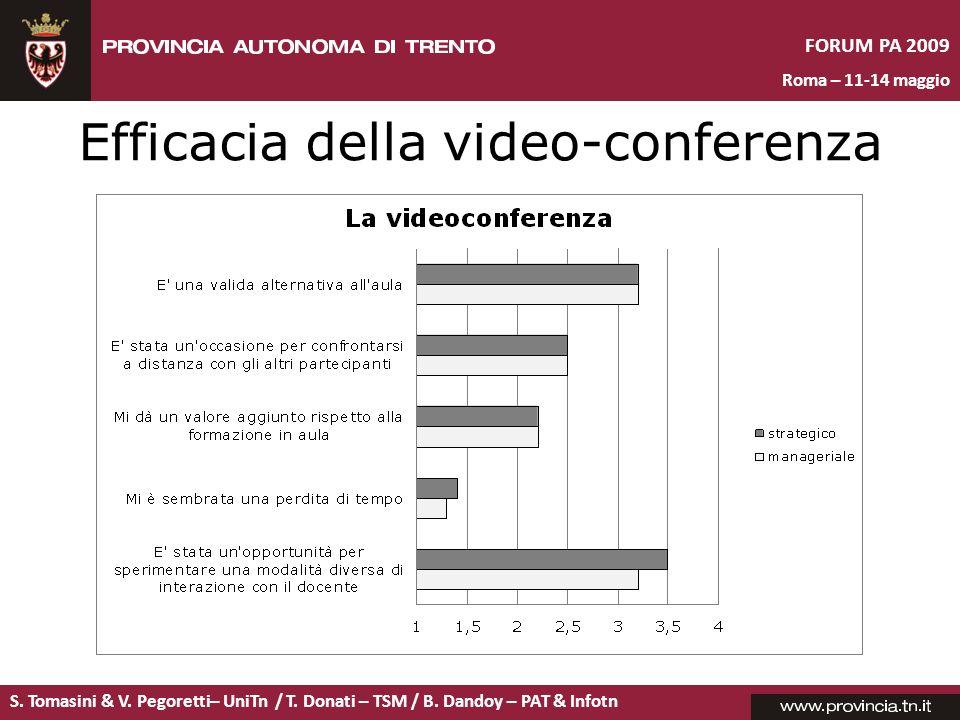 S. Tomasini & V. Pegoretti– UniTn / T. Donati – TSM / B. Dandoy – PAT & Infotn FORUM PA 2009 Roma – 11-14 maggio Efficacia della video-conferenza
