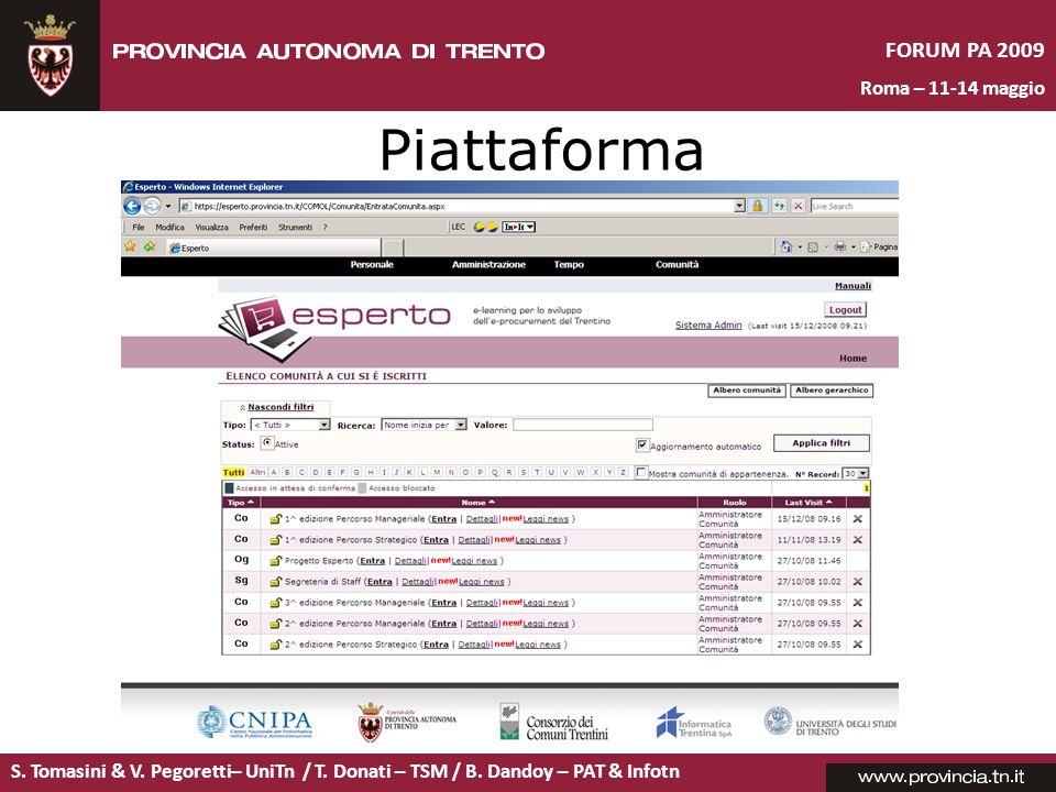 S. Tomasini & V. Pegoretti– UniTn / T. Donati – TSM / B. Dandoy – PAT & Infotn FORUM PA 2009 Roma – 11-14 maggio Piattaforma