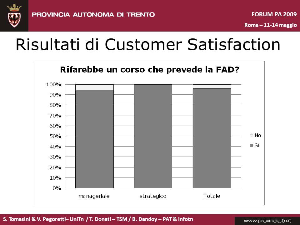 S. Tomasini & V. Pegoretti– UniTn / T. Donati – TSM / B. Dandoy – PAT & Infotn FORUM PA 2009 Roma – 11-14 maggio Risultati di Customer Satisfaction