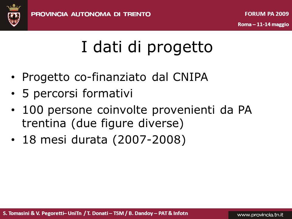 S. Tomasini & V. Pegoretti– UniTn / T. Donati – TSM / B. Dandoy – PAT & Infotn FORUM PA 2009 Roma – 11-14 maggio I dati di progetto Progetto co-finanz