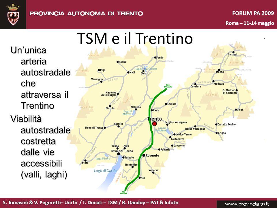 S. Tomasini & V. Pegoretti– UniTn / T. Donati – TSM / B. Dandoy – PAT & Infotn FORUM PA 2009 Roma – 11-14 maggio Ununica arteria autostradale che attr